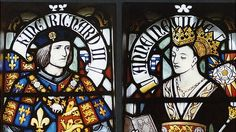 Stained glass window of Richard III and his wife Anne Neville.