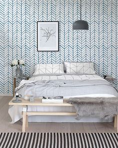 Papier peint vinyle auto-adhésif, décalque de mur - impression de motif Chevron - 026 WHITE / VIVID