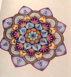 I adore this mandala! The colors and shading alone make me want to get busy and work on my own. Mandalas Painting, Mandalas Drawing, Zentangles, Mandala Design, Mandala Art, Mandala Doodle, Elefante Hindu, Coloring Books, Coloring Pages