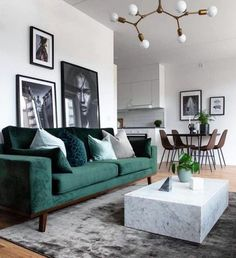Modernes Wohnzimmer - New Ideas room Modern Living room Neutral and classic living room with a green sofa to add decor style room decor