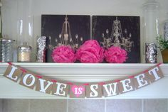 Love is Sweet wedding banner, wedding banner, bridal shower, banner, engagement, decoration,weddings,custom colors