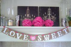 Love is Sweet wedding banner, wedding banner, bridal shower, banner, engagement, decoration,weddings,custom colors