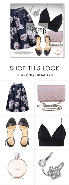 """Floral Skirt"" by luvsassyselfie ❤ liked on Polyvore featuring Chanel, Amorium, purple and black"