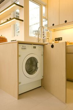 White Apartment Studio Designs in Small Space: Hidden Washing Machine Modern Laundry Room Small Apartment