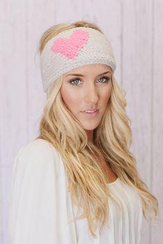 LOVE Knitted Heart Headband-so cute for winter!