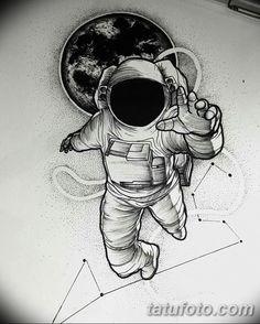 фото тату космонавт от 25.12.2017 №011 - cosmonaut tattoo - tatufoto.com