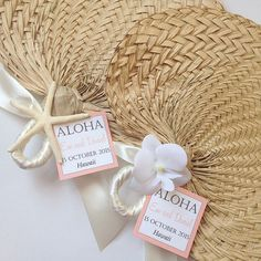 Palm Leaf Hand Fans with Small Tag Raffia by UrbanElementsDesign