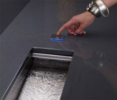 Kohler Crevasse Prep Sink - integrated garbage disposal and touch control! How awesome would it be to have a prep sink that has a garbage disposal? Kitchen Sink Design, Luxury Kitchen Design, Kitchen Sinks, Kitchen Remodel, Kitchen Appliances, Sink In Island, Kitchen Islands, Prep Kitchen, Kitchen Ideas