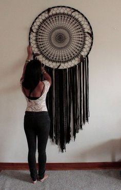 Dreamcatcher black dream catcher wall hanging large dream catcher large dream catcher bohemian decor boho decor wall art gift for her Grand Dream Catcher, Black Dream Catcher, Large Dream Catcher, Dream Catcher Boho, Dream Catcher Bedroom, Dream Catcher Craft, Bohemian Wall Decor, Boho Wall Hanging, Bohemian Style