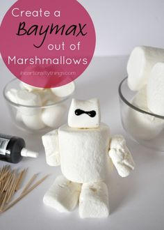 Disney Big Hero 6 Movie Night with Baymax Stick Puppet Kids Craft and Baymax Marshmallow Activity | I Heart Crafty Things