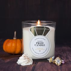 Get cozy with this pumpkin scented candle and wait for a sparkly surprise!