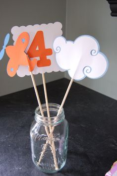 Airplane Centerpieces, Take Flight, Airplane Birthday,