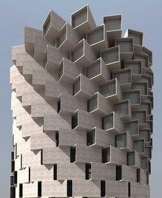 Bring a Change Through Architectural Structures & Creative Gaga Nuru Karim toren patroon rond pixel concept verdraaid gedraaid gevel Architecture Paramétrique, Futuristic Architecture, Amazing Architecture, Creative Architecture, Post Modern Architecture, Office Building Architecture, Chinese Architecture, Architecture Organique, Water Well