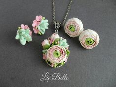 Set Pendant and studs with Ranunkulyus and succulents polymer
