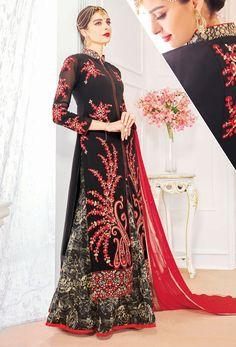 Semi Stitched Black And Red Achkan Style Salwar Kameez #wedding #weddingwear #sangeet #fullsleeve #collarnecksalwarkameez #collarneck #achkanstyle #salwar #suit #kameez #onlinesuits #designer #stylish #bollywood #freeshipping #womenwear #womenclothing #nikvik #usa #uk #uae price-US$94.54.  Sign up and get USD100 worth vouchers.