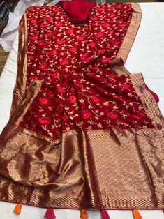 Pure Moonga Silk Sarees with Floral Prints Silk Saree Banarasi, Jute Silk Saree, Soft Silk Sarees, Dhoti Saree, Kanchipuram Saree, Red Saree, Indian Bridal Sarees, South Indian Sarees, Bridal Silk Saree