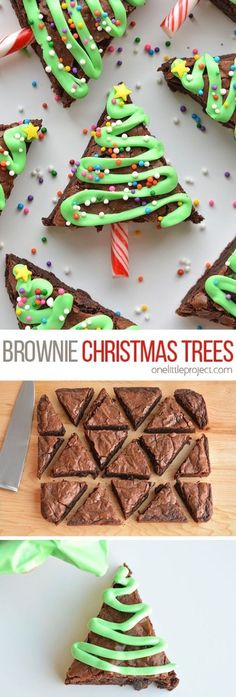 These Christmas Tree Brownies are SO EASY and they look adorable! The icing hardens, so they travel well and make a great treat for a Christmas party! Christmas Treats To Make, Christmas Tree Brownies, Christmas Party Ideas For Teens, Adult Christmas Party, Cute Christmas Tree, Christmas Snacks, Christmas Cupcakes, Christmas Cooking, Christmas Holiday