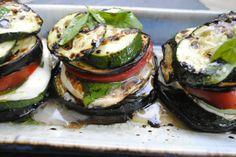 Zucchini Eggplant Napoleans with Tomato, Basil, & Mozzarella.