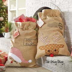 Give those Christmas gifts in gift bags that are reusable!  No wrapping paper in the trash!  Green and Santa approved! #christmasgiftbag www.thecrazydazy.com