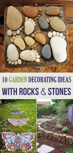 10 Garden Decorating Ideas with Rocks and Stones This includes garden stone markers - step by step directions!