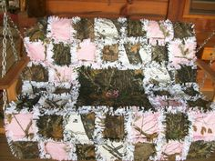 Mossy Oak Real Tree Camo Browning Rag Quilt Blanket Throw. $65.00, via Etsy.