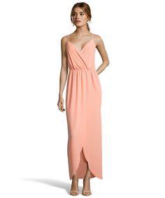 Wyatt : peach crepe 'Tulip' wrap detail maxi dress : style # 359520801