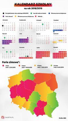 Kalendarz szkolny 2018/2019 Calendar, Chart, Organization, Map, Education, Getting Organized, Organisation, Location Map, Tejidos