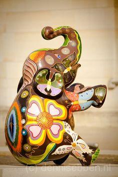 "Heerlen, Netherlands - Elephant Parade (2011) - ""Phie-Seau"" - 40 fiberglass elephant statues"