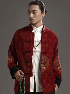 Red Goat Embroidery Men`s Folk Tops Mandarin Collar Short Sleeved Ethnic Shirts For Male Summer Wearing Exquisite Traditional Embroidery Art Tops & Tees