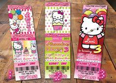 Hello Kitty Invitation Ticket Birthday Party Invite. $9.99, via Etsy.