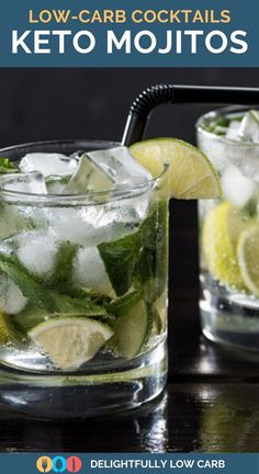 You can still enjoy a mojito on a keto diet with these keto mojitos with just 3 net carbs | Keto Cocktails | Low Carb Cocktails | Sugar-Free cocktails #mojitos #cocktail #lowcarb #keto Best Low Carb Recipes, Keto Recipes, Easy Recipes, Low Carb Cocktails, Vegan Sugar, Sugar Free Desserts, Low Carb Breakfast, Mojito, Yummy Drinks