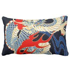 Graphic Art Colorful Dragon Print Throw Pillows