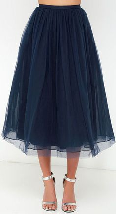 Give it a Twirl Navy Blue Tulle Midi Skirt  ❤︎