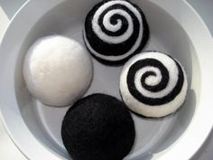 Black and white felted wool balls. Black and white by TheFeltHaus, $40.00
