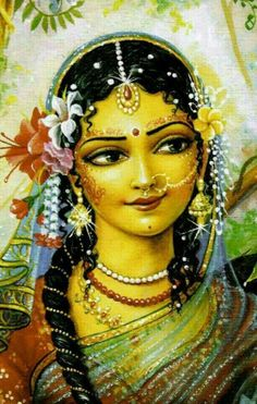 """ O Shri Radhe, I offer my respects to You whose bodily complexion is like molten gold. O Goddess, You are the queen of Vrindavaan. You are the daughter of King Vrishabhanu, and are very dear to Lord Krishna.""~Radha Stuti~"