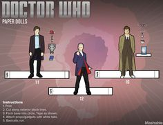 Doctor Who Paper Dolls Tennant Smith Capaldi and TARDIS (not shown but available through link)