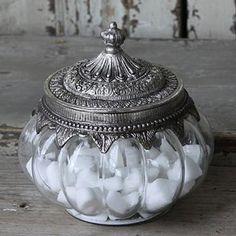 Glasdose ANTICO mit Metalldeckel silber antik H16cm