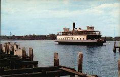 Jamestown- Newport Ferry. Narragansett Bay. Rhode Island. Vintage postcard