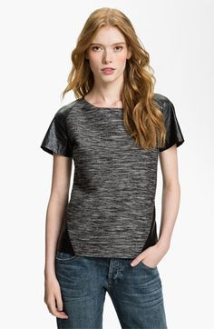 Trouvé Faux Leather Trim Tee available at #Nordstrom