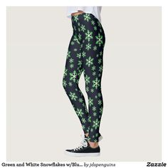 Green and White Snowflakes w/Blue Background Leggings
