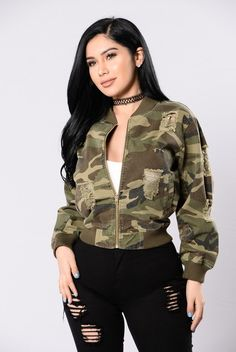 - Available in Camo - Bomber Jacket - Front Zipper Closure - Side Slit Pockets - Distressed - 100% Cotton