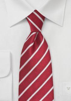Krawatte zierliches Streifen-Dekor kirschrot