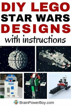 Incredible LEGO Star Wars builds that include free instructions are available. We rounded up the best of the best and there are a bunch of great builds that you and your kids can make. For all of the DIY LEGO Star Wars designs click the image. You are goi Lego Darth Vader, Darth Maul, Star Wars Karten, Legos, Deco Lego, Modele Lego, Construction Lego, Star Wars Crafts, Star Wars Personajes