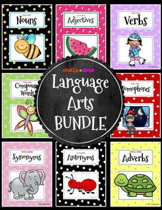 Save over 15% with this wonderful language arts bundle! It is perfect for teaching your students about nouns, verbs, adjectives, adverbs, homophones, compound words, synonyms, and antonyms! These packets contain many practice worksheets, as well as fun literature extensions, writing activities, and games for your classroom!