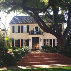 Traditional white painted brick home with black shutters. The gorgeous tree in the front yard is fabulous. Love the brick steps. Barbie Dream House, White Houses, House Goals, Traditional House, My Dream Home, Curb Appeal, Exterior Design, Future House, Beautiful Homes