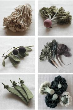crochet veggies by Japanese artist Jung Jung [via Montreal-based Collectif Textile]