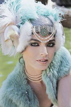 More dreamy bridal headdress magic from The Plumed Serpent Pierre Turquoise, Light Turquoise, Idda Van Munster, Bridal Headdress, Feather Headdress, Bridal Headpieces, Gatsby Style, Gatsby Girl, 1920s Style