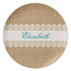 Burlap with Delicate Lace - Shabby Chic Monogram Plates