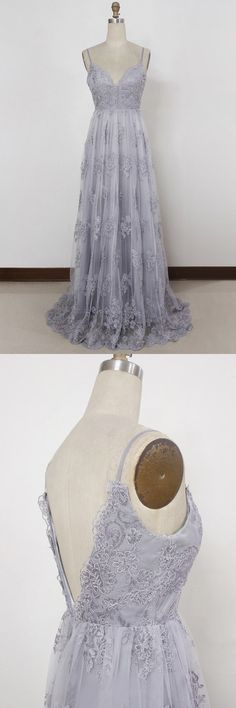 Lavender Sheath Spaghetti Straps Sweep Train Backless Appliques Tulle Prom Dress