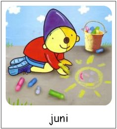 Juni | Pompom maanden Picture Quotes, Classroom, Kids, Crafts, Fictional Characters, Pom Poms, Class Room, Young Children, Boys